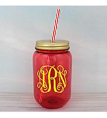 Red 24 oz. Mason Jar with Straw #55543-RED