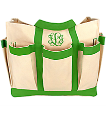 Canvas Organizer Tote with Green Trim #55566-GRN