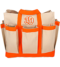 Canvas Organizer Tote with Orange Trim #55566-ORG