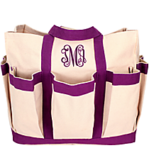 Canvas Organizer Tote with Purple Trim #55566-PUR