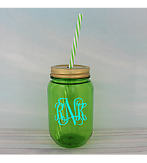 Green 16 oz. Mason Jar with Straw #55568-GREEN