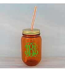 Orange 16 oz. Mason Jar with Straw #55568-ORANGE