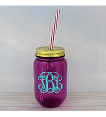 Purple 16 oz. Mason Jar with Straw #55568-PURPLE