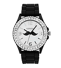 Black Mustache Jelly Watch with Crystal Surround #5573MU-BLACK