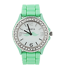 Mint Mustache Jelly Watch with Crystal Surround #5573MU-MINT