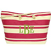 Fuchsia Striped Woven Straw Shoulder Tote #56219