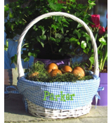 White Wicker Basket with Blue Gingham Lining #9718918B