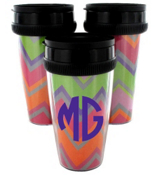 Rainbow Chevron Acrylic Travel Tumbler #573