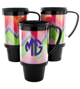 Rainbow Chevron Black Travel Tumbler #572
