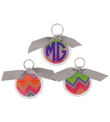 Rainbow Chevron Round Acrylic Key Tag #991