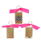 "Pink and Green Chevron 3"" Acrylic Keytag #979"