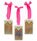 Pink and Green Chevron Acrylic Luggage Tag #932