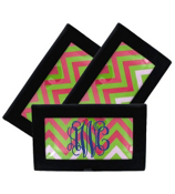 Pink and Green Chevron Black Checkbook Cover #7465B