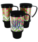Pink and Green Chevron Black Travel Tumbler #572