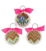 Pink and Green Chevron Round Acrylic Key Tag #991