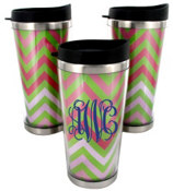 Pink and Green Chevron Stainless Steel Travel Tumbler #579
