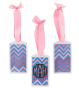 Blue and Pink Chevron Acrylic Luggage Tag #932