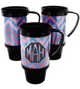 Blue and Pink Chevron Black Travel Tumbler #572