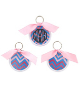 Blue and Pink Chevron Round Acrylic Key Tag #991