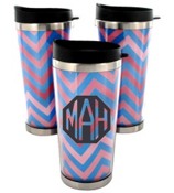 Blue and Pink Chevron Stainless Steel Travel Tumbler #579