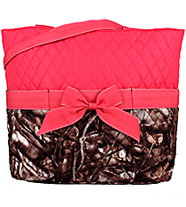 BNB Natural Camo Quilted Diaper Bag with Hot Pink Trim #SNQ2121-H/PINK