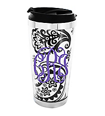 Black and White Floral Paisley Stainless Steel Travel Tumbler #579