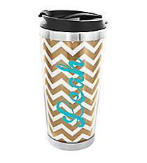 Gold Chevron Stainless Steel Travel Tumbler #579