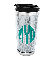Metallic Silver Leopard Stainless Steel Travel Tumbler #579