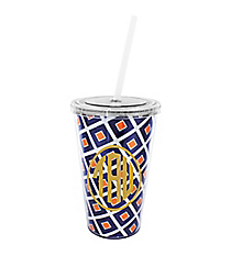 Navy and Orange Diamond 16 oz. Double Wall Tumbler with Straw #WA334056-CL