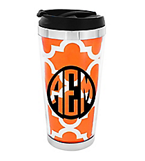 Orange Moroccan Stainless Steel Travel Tumbler #579