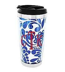 Royal Blue Floral Paisley Stainless Steel Travel Tumbler #579