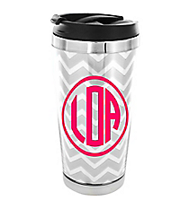 Silver Chevron Stainless Steel Travel Tumbler #579