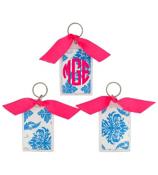 """Bright Blue Vintage Damask 3"""" Acrylic Keytag #979"""