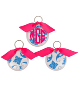 Bright Blue Vintage Damask Round Acrylic Key Tag #991