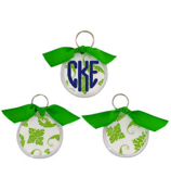 Bright Lime Vintage Damask Round Acrylic Key Tag #991