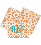 Bright Orange Vintage Damask Mouse Pad #193
