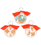 Bright Orange Vintage Damask Round Acrylic Key Tag #991