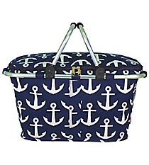 Navy with White Anchors Collapsible Insulated Market Basket with Lid #DDT658-NAVY