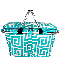 Aqua Greek Key Collapsible Insulated Market Basket with Lid #UHA658-AQUA