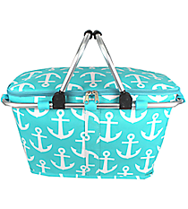 Aqua with White Anchors Collapsible Insulated Market Basket with Lid #DDT658-AQUA