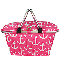 Pink with White Anchors Collapsible Insulated Market Basket with Lid #DDT658-PINK