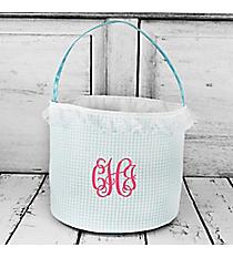 Aqua Seersucker Bucket Bag #6002-AQUA