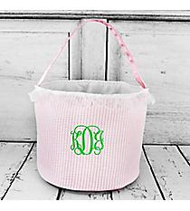 Pink Seersucker Bucket Bag #6002-PINK