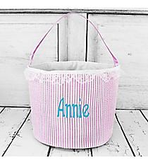 Purple Seersucker Bucket Bag #6002-PURPLE