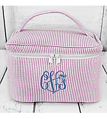 Purple Seersucker Cosmetic Case #6004-PURPLE