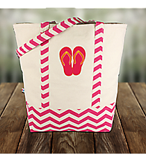 Hot Pink Flip Flop Canvas Tote with Chevron Trim #60126