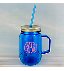Blue 16 oz. Double Wall Mason Jar with Straw #60127-BLUE