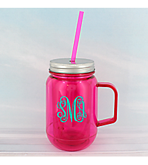 Fuchsia 16 oz. Double Wall Mason Jar with Straw #60127-FUCHSIA