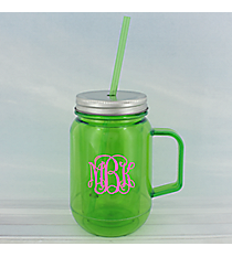 Green 16 oz. Double Wall Mason Jar with Straw #60127-GREEN
