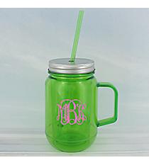 Green 16 oz. Double Wall Mason Jar with Straw #60127-GREEN